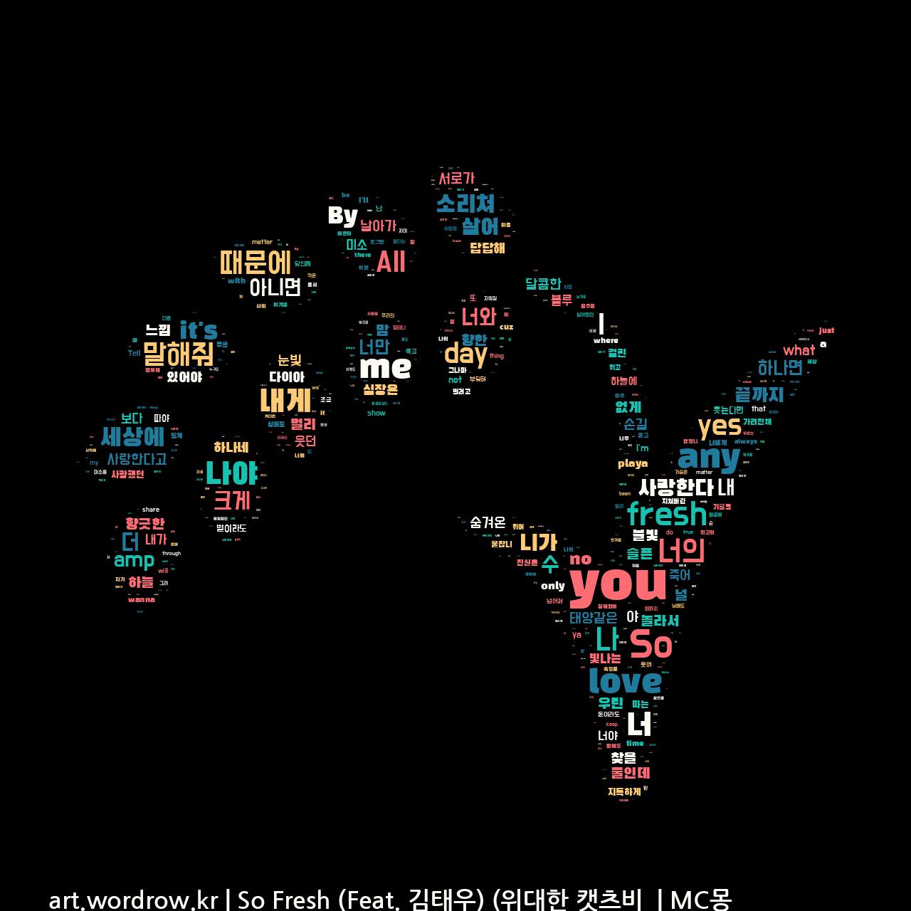 워드 클라우드: So Fresh (Feat. 김태우) (위대한 캣츠비 OST 삽입곡) [MC몽]-71